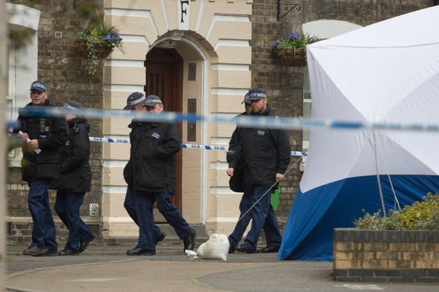 Police officers at a Southwark Estate where human remains were found on Thursday 200ft from where Semple...