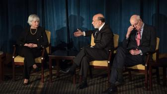 Former Federal Reserve Chair Ben Bernanke (C) speaks with Federal Reserve Chair Janet Yellen (L) and former Chair Paul Volcker during a meeting at the International House in New York on April 7, 2016.  / AFP / POOL / Andrew Renneisen        (Photo credit should read ANDREW RENNEISEN/AFP/Getty Images)