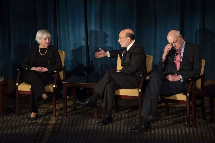 Federal Reserve chairwoman Janet Yellen on a panel discussion alongside past chairs Ben Bernanke and Paul Volcker on Apr