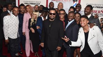 HOLLYWOOD, CALIFORNIA - APRIL 06:  The cast of 'Barbershop: The Next Cut' attends the premiere of New Line Cinema's 'Barbershop: The Next Cut' at the TCL Chinese Theatre IMAX on April 6, 2016 in Hollywood, California.  (Photo by Alberto E. Rodriguez/Getty Images)
