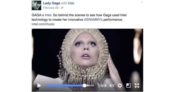 An example of what branded content will look like on Facebook, featuring Lady Gaga and paid for by Intel.