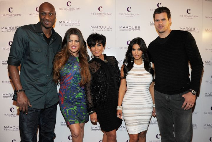 Lamar Odom, Khloe Kardashian, Kris Jenner, Kim Kardashian and Kris Humphries arrive at Kim Kardashian's birthday party at her