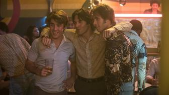 Left to right: Temple Baker plays Plummer, Ryan Guzman plays Roper, and Blake Jenner plays Jake in Everybody Wants Some from Paramount Pictures and Annapurna Pictures.