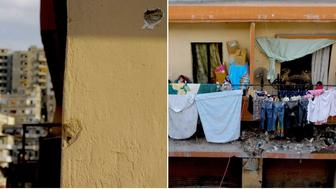Left: Bullet holes on the walls of a home in Bab al-Tabaneh with buildings in the rival neighborhood of Jabal Mohsen visible in the background. Right: The other side of the same home in Tabaneh faces a dilapidated building with Syrian refugees.
