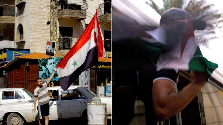 Left: A man proudly displays the Syrian state flag in the neighborhood of Jabal Mohsen. Right: A protester waves a Free Syria