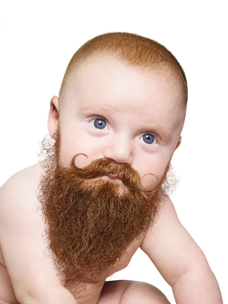 A baby's handlebar mustache is a handsome way to hold onto a pacifier.