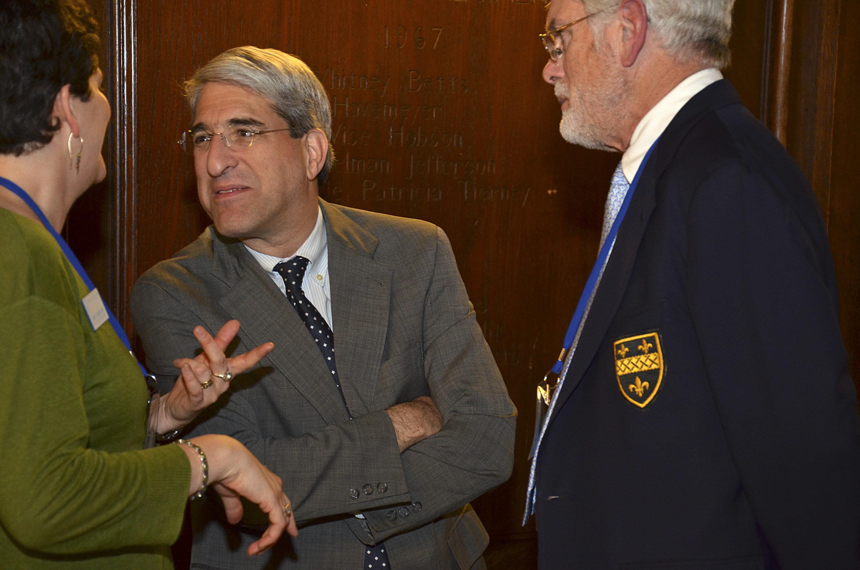 Jenny Chavira, deputy executive director of the Association of Yale Alumni, left, Peter Salovey, then-provost of Yale Univers