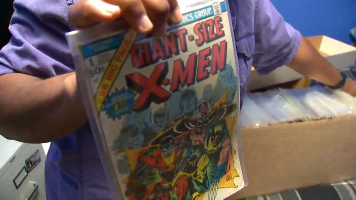 Sanders showing off his giant-size X-Men 1.