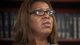 NEW YORK, NY - AUGUST 21:  New York City Public Advocate Letitia James displays a video camera that police officers could wear on patrol during a press conference on August 21, 2014 in New York City.  James is advocating that the New York Police Department (NYPD) use cameras to record their actions. According to James, equipping 15% of the NYPD would cost $5 million.  (Photo by Andrew Burton/Getty Images)