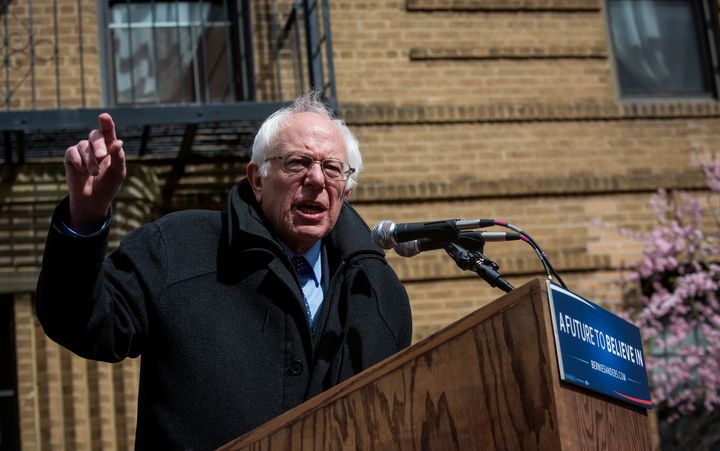 Bernie Sanders holds a rally outside his childhood home in Flatbush.