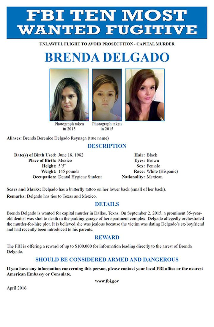 Delgado was added to the Ten Most Wanted Fugitive list in April 2016.