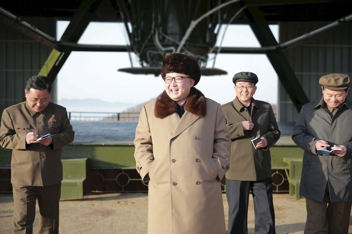 North Korea leader Kim Jong Un visits Sohae Space Center in Cholsan County, North Pyongan province for the testing of a new m