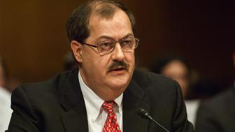 WASHINGTON, DC - MAY 20:  Don L. Blankenship, chairman and CEO of Massey Energy Co., appears before a Senate Appropriations Subcommittee on Labor, Health and Human Services, Education, and Related Agencies hearing on mine safety May 20, 2010 in Washington, DC. Massey Energy is the Richmond, Virginia-based company that owns the Upper Big Branch Mine, where 29 workers died in a fatal explosion last month.  (Photo by Scott J. Ferrell/Congressional Quarterly/Getty Images)