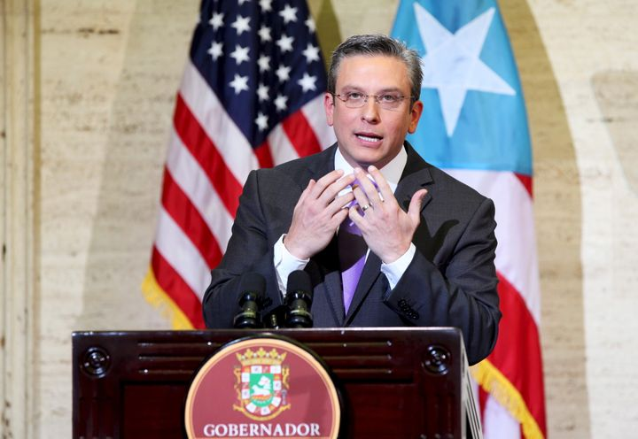 Puerto Rico's Governor Alejandro Garcia Padilla addresses the audience at the capitol building in San Juan, in this February