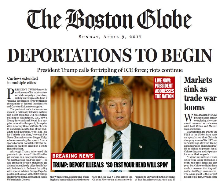 The fake front page the Boston Globe used to raise alarm about a Donald Trump presidency.