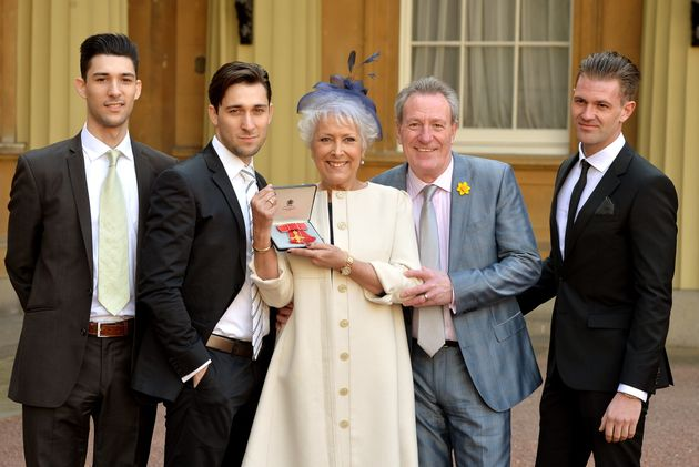 Lynda Bellingham with husband Michael Pattemore (R) and sons Michael Peluzo and Robbie Peluzo (L) with...