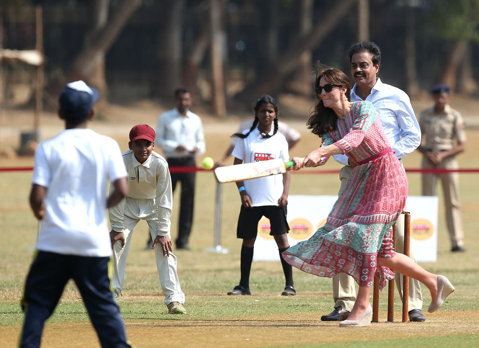 TheDuchess of Cambridge join a local cricket game during a visit to meet children from Magic Bus,...