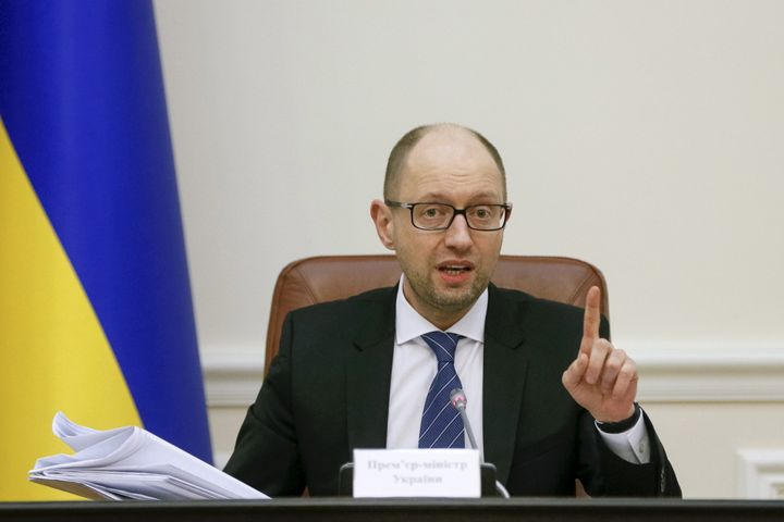 Ukraine's Prime Minister Arseny Yatseniuk chairs a government meeting in Kiev, Ukraine, March 16, 2016.