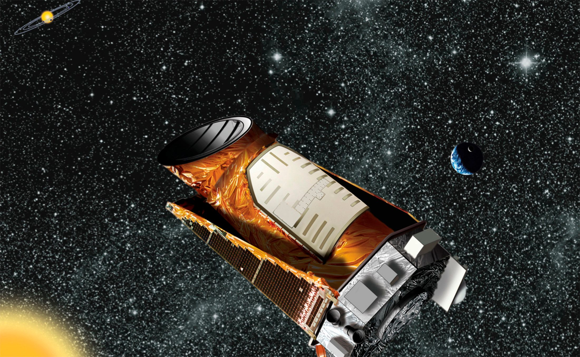 An artist's composite of the Kepler telescope is seen in this undated NASA handout image. Two of Kepler's four gyroscope-like reaction wheels, which are used to precisely point the spacecraft, have failed and NASA reported on August 15, 2013, that it is ending attempts to fully recover the spacecraft.  REUTERS/NASA/Handout via Reuters  (UNITED STATES - Tags: SCIENCE TECHNOLOGY) ATTENTION EDITORS - FOR EDITORIAL USE ONLY. NOT FOR SALE FOR MARKETING OR ADVERTISING CAMPAIGNS. THIS IMAGE HAS BEEN SUPPLIED BY A THIRD PARTY. IT IS DISTRIBUTED, EXACTLY AS RECEIVED BY REUTERS, AS A SERVICE TO CLIENTS