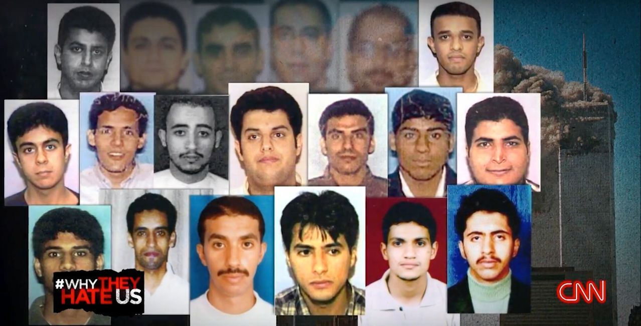 "A still from Fareed Zakaria's ""Why They Hate Us"" shows photos of the 19 hijackers in the September 11th attacks, <a href"