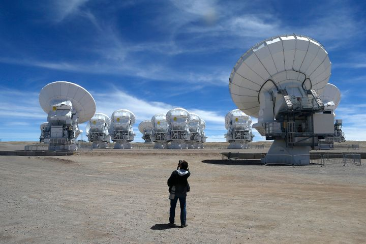 A view of the radio telescopes that make up the Atacama Large Millimeter Array, or ALMA, in Chile's Atacama de