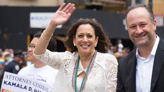 SAN FRANCISCO, CA - JUNE 28:  California State Attorney General Kamala D. Harris appears during the 2015 San Francisco Pride Parade on June 28, 2015 in San Francisco, California.  (Photo by Arun Nevader/WireImage)