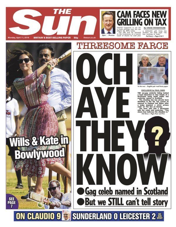 Secret story: The front page of the Sun newspaper on