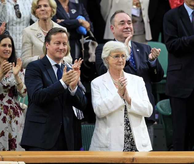 David Cameron and his mother Maryattending