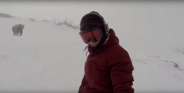 Snowboarder Films Herself Being Chased By Bear, Doesn't Even Notice The