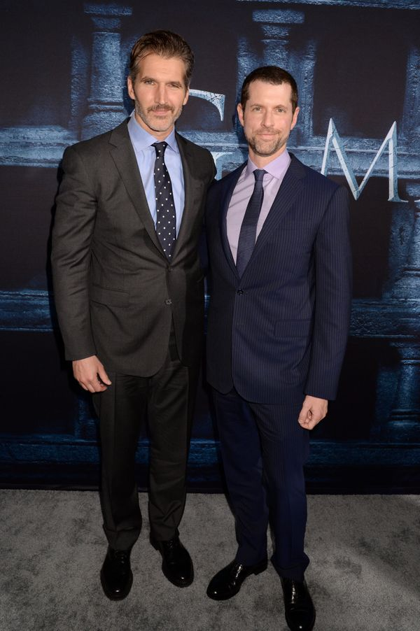 Creator/Executive Producers David Benioff (L) and D. B. Weiss attend the premiere.