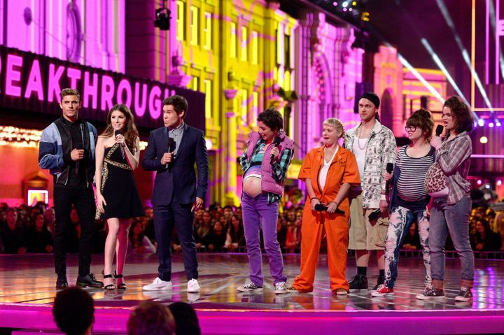 Actors Zac Efron, Anna Kendrick and Adam DeVine speak onstage during the 2016 MTV Movie Awards at Warner Bros. Studios on Apr
