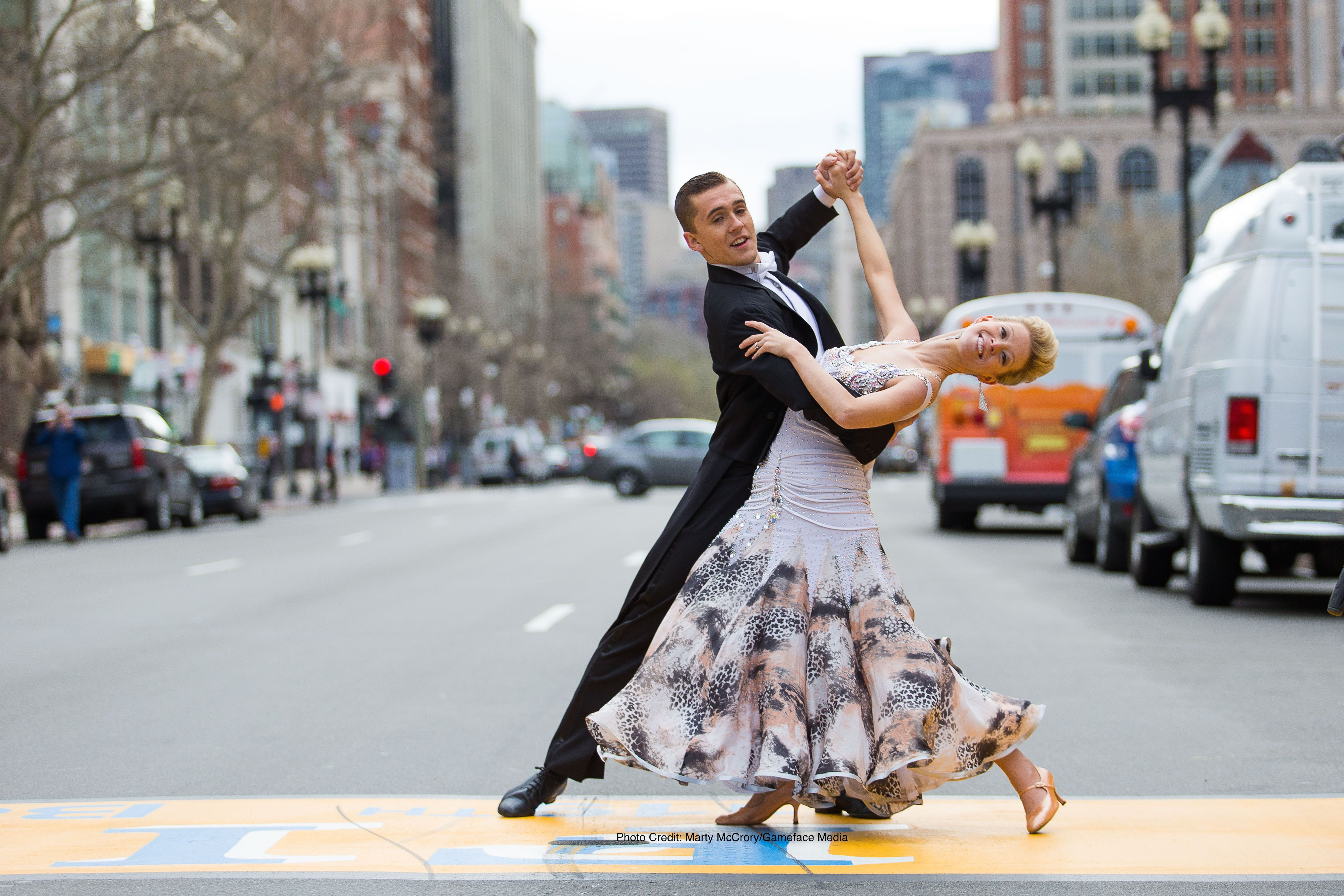 """Haslet-Davis danced over the Boston Marathon finish line as part of the """"Heroes of Summer"""" campaign in April 2015."""