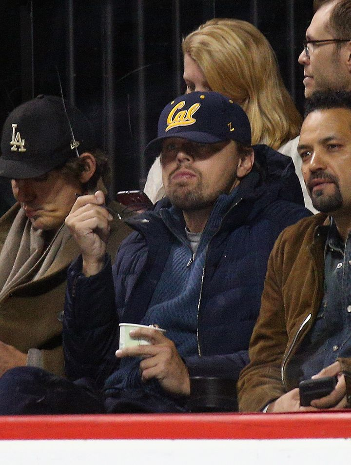 Leonardo DiCaprio watches the game between the New York Islanders and the Buffalo Sabres at the Barclays Center on April 9.