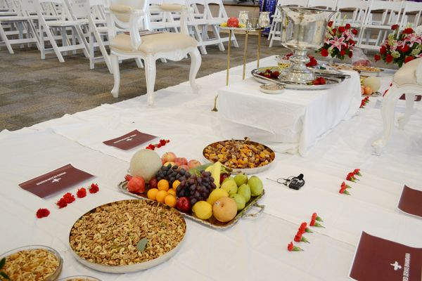 Priests offer fresh fruit, dried fruit and <i>Malido</i>, a traditional sweet, during&nbsp;the ceremony. After the ritual,&nb