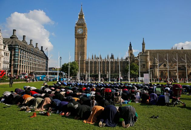 Muslims in Friday prayers during a Muslim Climate Action eventin
