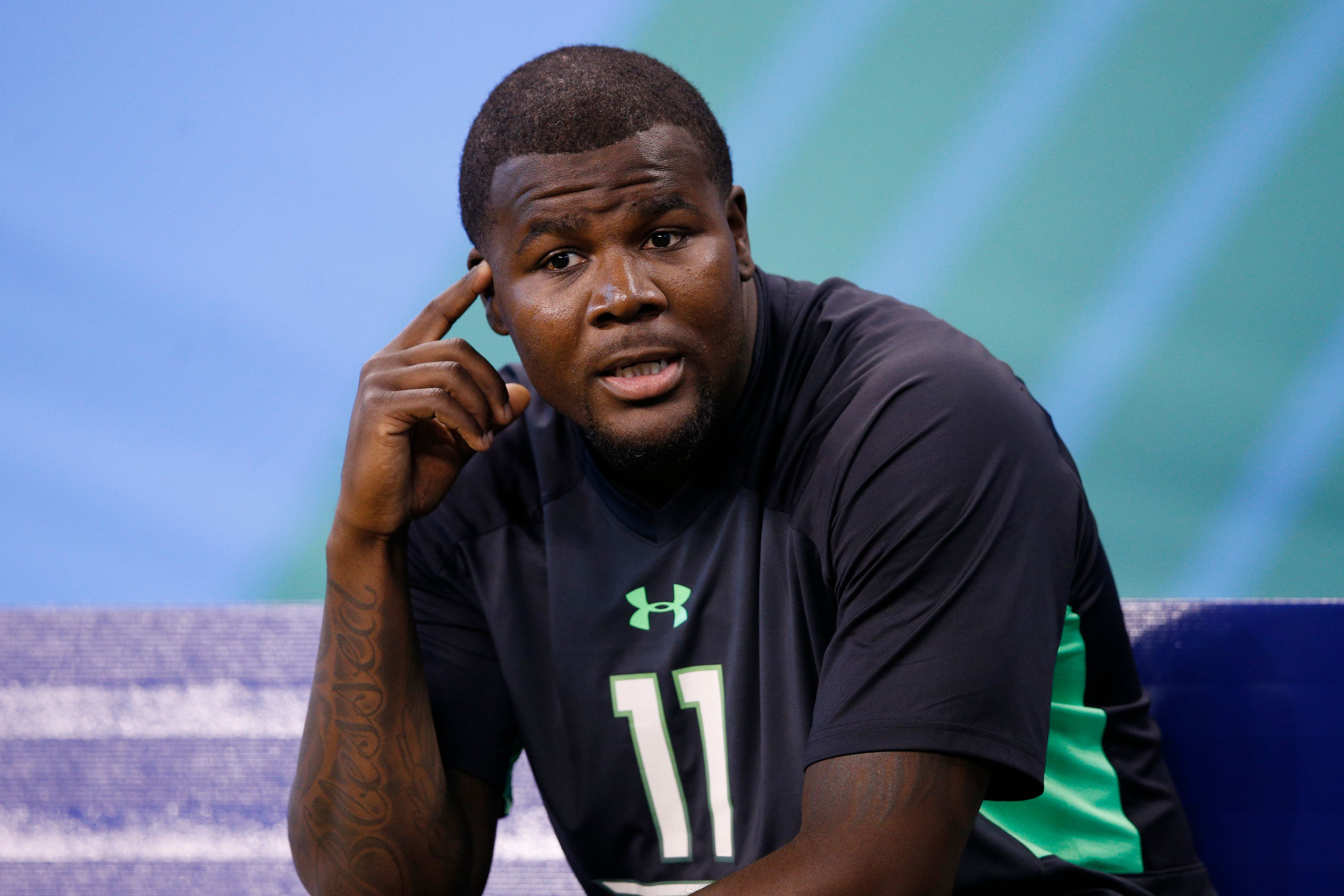 INDIANAPOLIS, IN - FEBRUARY 27: Quarterback Cardale Jones of Ohio State looks on during the 2016 NFL Scouting Combine at Lucas Oil Stadium on February 27, 2016 in Indianapolis, Indiana. (Photo by Joe Robbins/Getty Images)