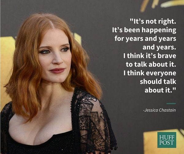 "Jessica Chastain spoke out in support of Jennifer Lawrence's essay on the wage gap in a 2015 interview with <a href=""http://v"