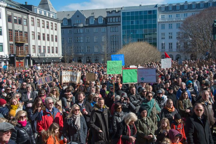 """Thousands of Icelanders rally in Reykjavik on April 9, 2016. Protests continued this weekend following last week's """"Panama Pa"""