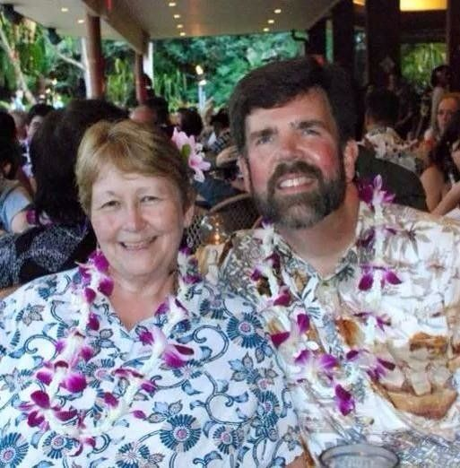 Glenn and Barbara Anderson celebrating their 40th anniversary in Hawaii in 2012.