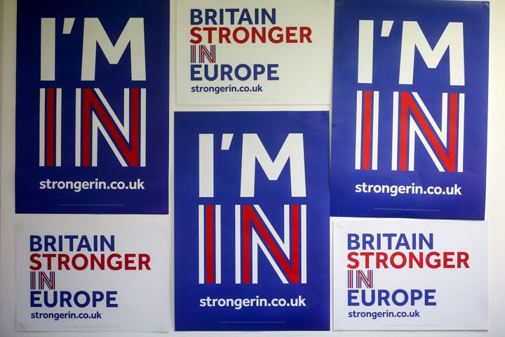 "Posters are pinned on a wall at the ""Britain Stronger In Europe"" campaign offices in London."