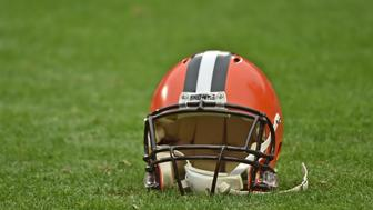 KANSAS CITY, MO - DECEMBER 27:  A general view of a Cleveland Browns helmet prior to a game against the Kansas City Chiefs on December 27, 2015 at Arrowhead Stadium in Kansas City, Missouri.  (Photo by Peter G. Aiken/Getty Images)