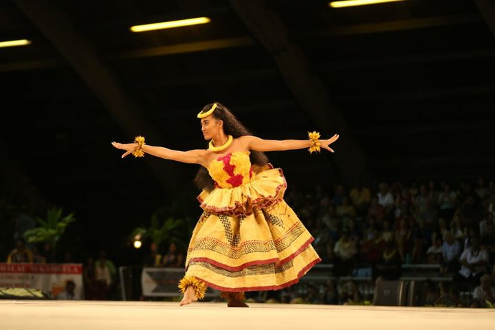 Kayli Ka'iulani Carr performs her hula kahiko during the 2016 Merrie Monarch Festival.