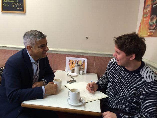 Sadiq Khan talking to the Huff Post UK in West