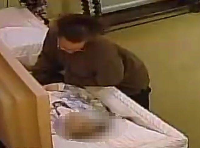 Surveillance cameras captured the unidentified woman stealing a ring from the corpse of 88-year-old Lois Hicks at the Sunset Funeral Home in Odessa, Texas.
