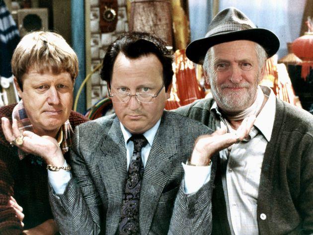 Boris 'Rodney' Johnson (Left), David 'Del Boy' Cameron (Middle), and Jeremy 'Grandad' Corbyn'