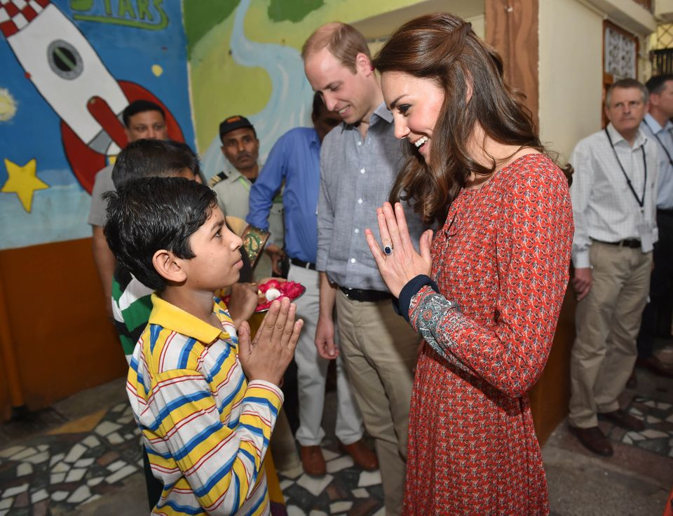 The Duke and Duchess of Cambridge with street children at a contact centre run by the charity Salaam