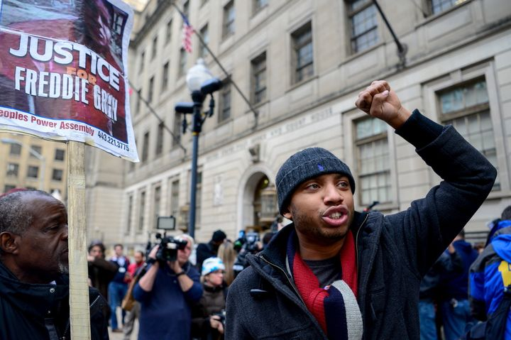 Protesters demand justice for Freddie Gray.