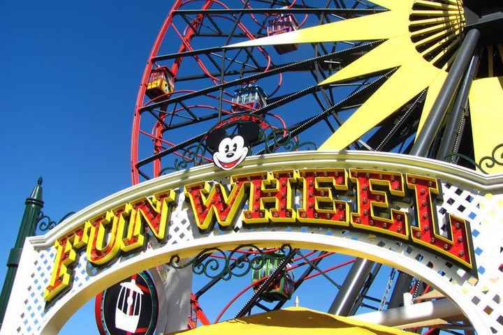 Mickey's Fun Wheel, overlooking Disney California Adventure at the Disneyland Resort in California.