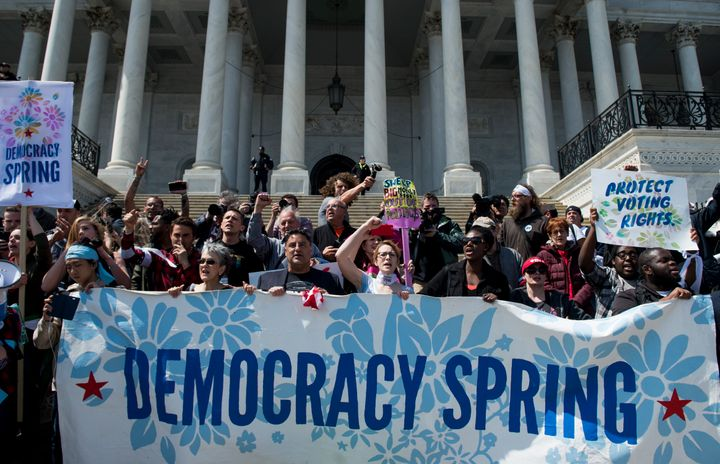 Democracy Spring activists staged a civil disobedience action on the steps of the Capitol building in Washington, D.C., on Mo