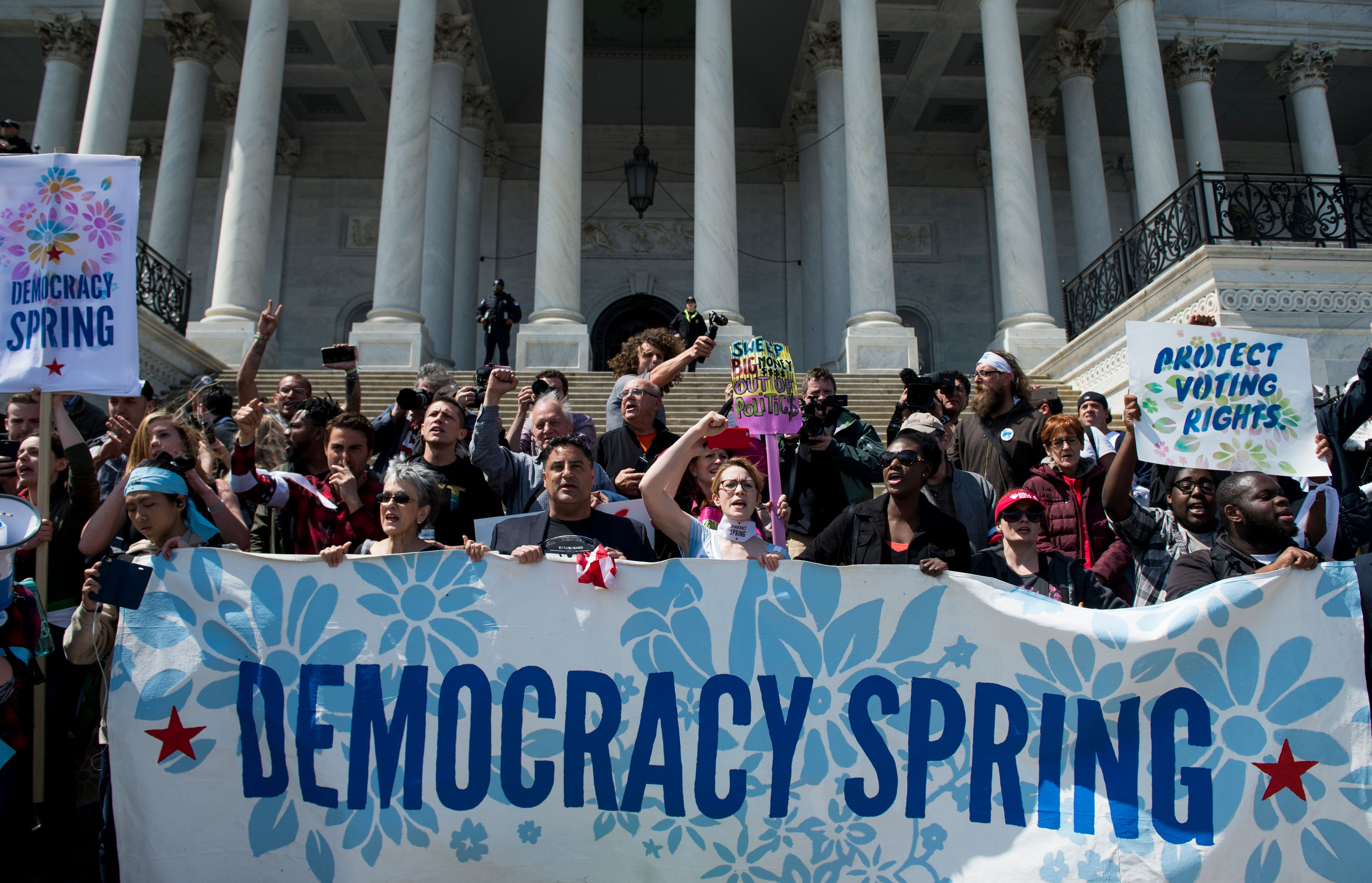 UNITED STATES - APRIL 11: Democracy Spring protesters calling for the end of big money in politics stage a sit-in on the Capitol steps and on the East Plaza of the Capitol on Monday April 11, 2016.  (Photo By Bill Clark/CQ Roll Call)